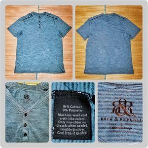 Rock & Republic Mens XL striped Henley Neck blue